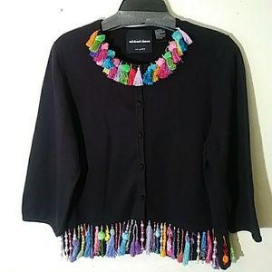 Michael Simon ramie cotton button cardigan sweater
